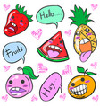 smile fruit character cartoon doodles vector image