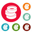 stack of tire icons circle set vector image vector image
