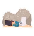 tired freelancer employee or student sleeping vector image