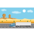 Truck on the road in desert vector image vector image