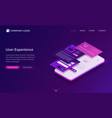 user experience ui ux isometric landing page vector image vector image