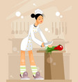 woman chef in the kitchen vector image