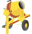 yellow concrete mixer in cartoon style flat vector image
