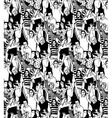Crowd active happy people seamless black pattern vector image