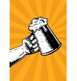 hand with beer mug vintage poster for pub vector image