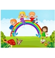 Cartoon Happy kids sitting on rainbow on the fores vector image