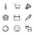 9 isolated icons vector image vector image