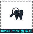 bacteria on tooth icon flat vector image vector image