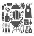 Bbq Icon Flat Isolated Silhouette Set