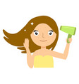 beautiful smiling young woman drying her hair with vector image vector image