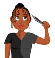 black girl plaiting hair vector image vector image