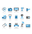 blue color photography element icons set vector image vector image