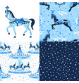 blue set carousel seamless patterns vector image