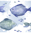Blue watercolor fish seamless pattern vector image vector image
