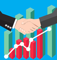 Business people handshake graph vector image