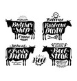 butcher shop barbecue party label set meat beef vector image vector image