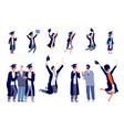 children graduates happy students kids vector image