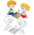 Children play chess vector image vector image