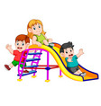 childrens have fun play slide vector image