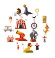 circus symbols icons set cartoon style vector image vector image