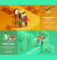 city navigation isometric banners vector image vector image