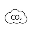 co2 emissions line icon carbon gas cloud vector image vector image