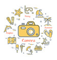 colorful icons in summer holidays - photographic vector image