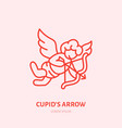 cupid with bow and arrow flat line icon vector image vector image