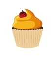 decorated cupcake with cherry icon vector image vector image