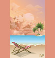 empty deckchair on beach at dawn vector image vector image