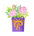floral arrangement with roses in box vector image vector image