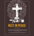 funeral service hand drawn cross vector image vector image