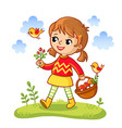 girl collects mushrooms in a basket vector image