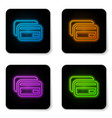 glowing neon credit card icon isolated on white vector image vector image