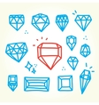 Hand drawn diamonds vector image