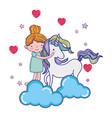 happy girl hugging cute unicorn vector image vector image