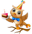 happy owl cartoon celebrating birthday vector image vector image