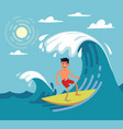 man surfing on wave vector image vector image