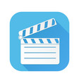 movie filming white sign on blue square icon vector image vector image