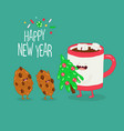mug and cookies are congratulated on new year vector image vector image