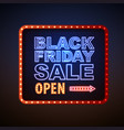 neon sign black friday sale open vector image vector image