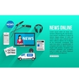 news online flat design concept with place vector image