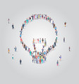 people crowd gathering in light lamp icon shape vector image vector image
