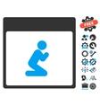 Pray Person Calendar Page Icon With Bonus vector image vector image