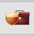 red briefcase with security golden shield vector image