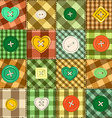 seamless background patchworks and buttons vector image