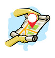 searching location using modern map vector image vector image