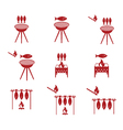 Set of grilled fish icons vector image