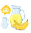 set of natural fresh banana juice in bank vector image