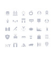 set simple icons new york vector image vector image